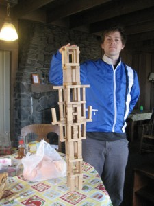 Brandon tests the structural integrity of my Jenga masterpiece